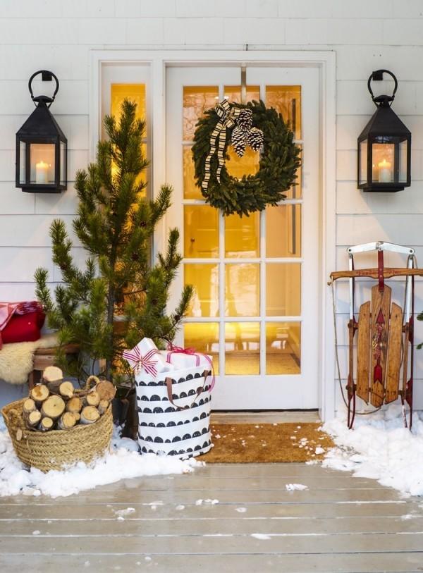 weihnachtsdeko hauseingang festlich gemütlich