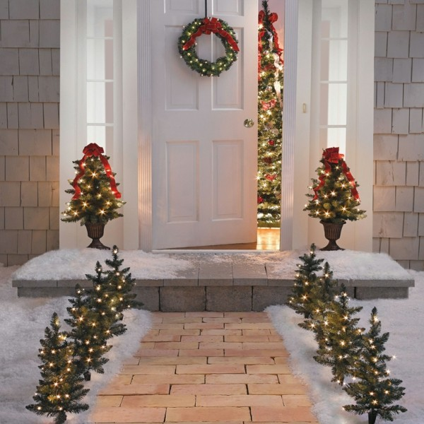 weihnachtsdeko hauseingang festliche lichter