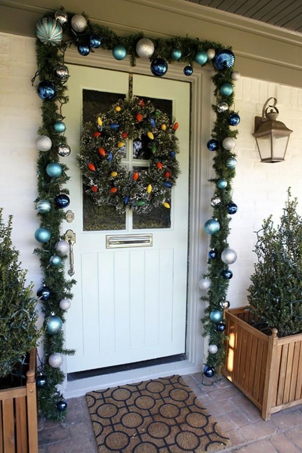 weihnachtsdeko hauseingang weihnachtskranz dekogirlande