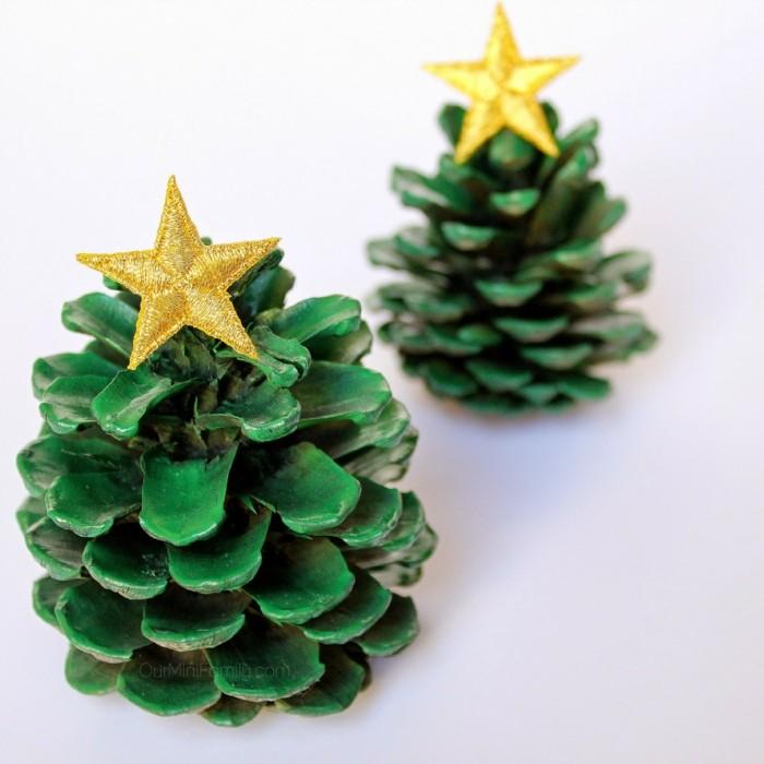 weihnachtsdeko ideen tannenbäume selber machen basteln mit zapfen