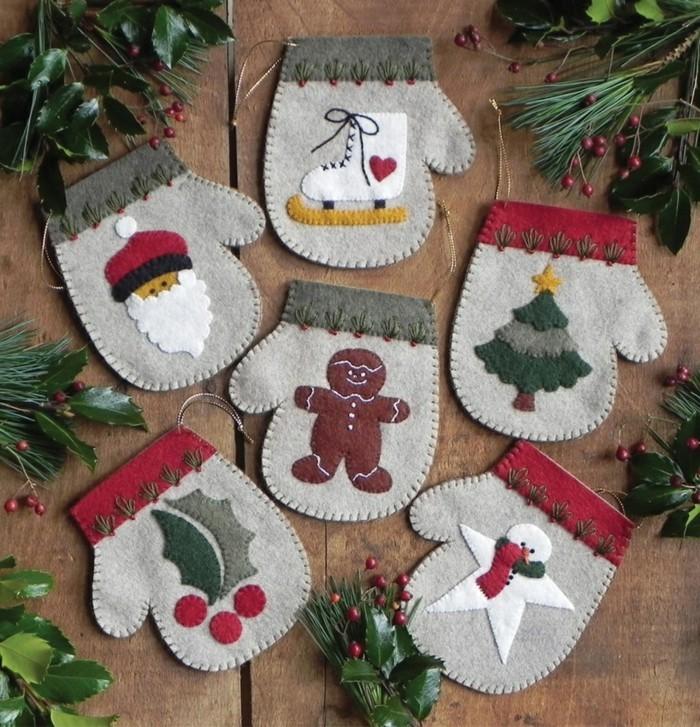 weihnachtsdeko nähen basteln mit filz zu weihnachten