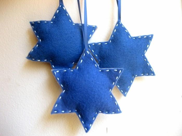 weihnachtsdeko nähen blaue weihnachtssterne