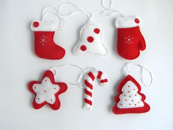 weihnachtsdeko nähen festliche hängedeko weiß rot