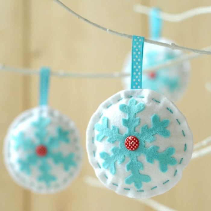weihnachtsdeko nähen filz hängedeko schneeflöckchen