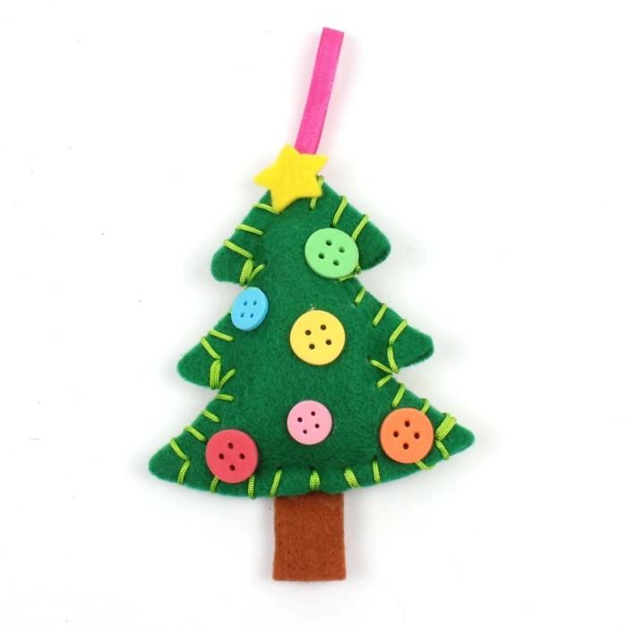 weihnachtsdeko nähen grüner tannenbaum knöpfe