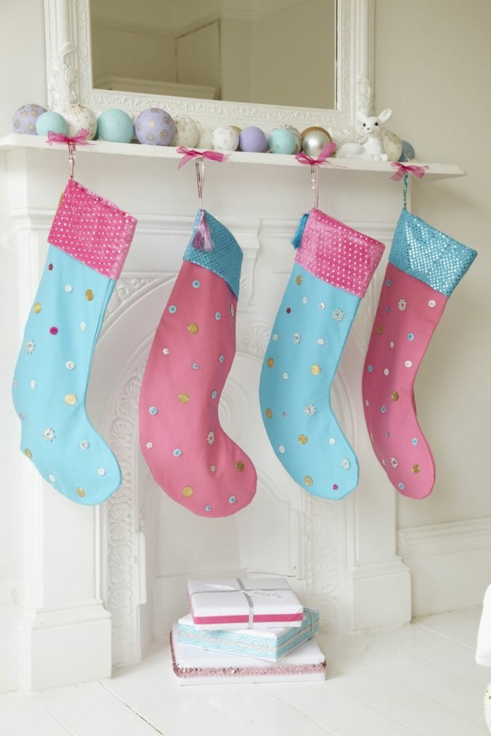 weihnachtsdeko nähen kreative bastelideen weihnachten rosa hellblau