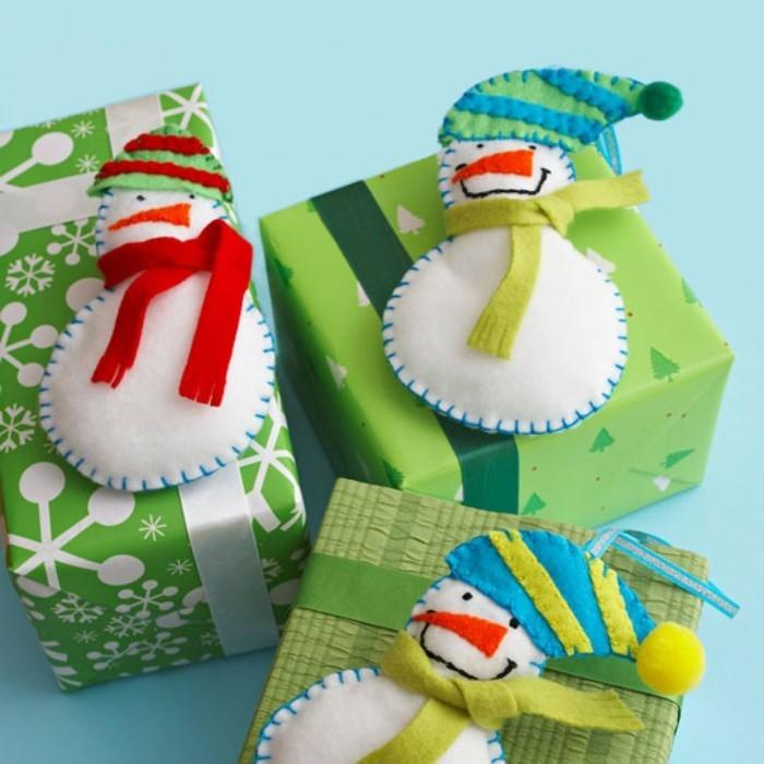weihnachtsdeko nähen ornamente schneemann