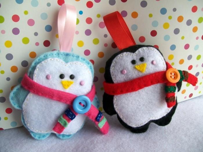 weihnachtsdeko nähen pinguine mit schal filz