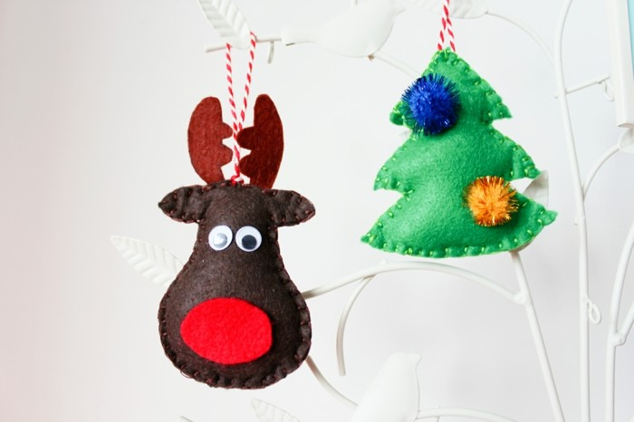 weihnachtsdeko nähen schicke tannenbaumanhänger selber machen