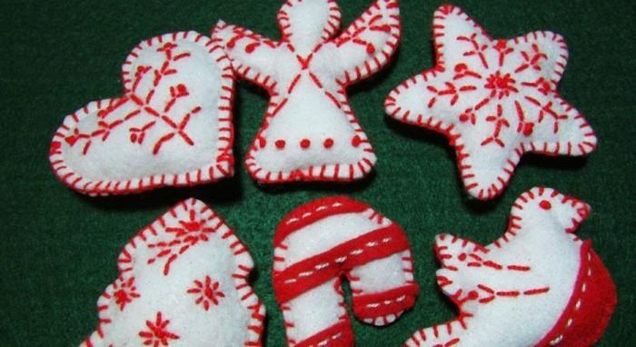 weihnachtsdeko nähen weiß rot frisch und festlich