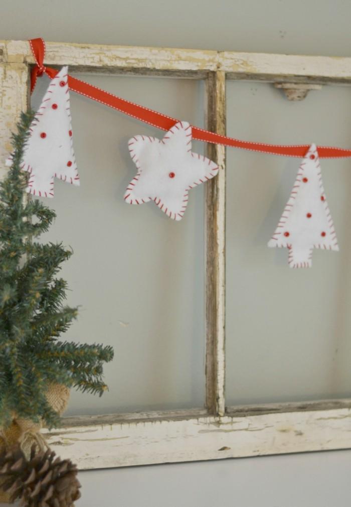 weihnachtsdeko nähen weiße ornamente rote punkte