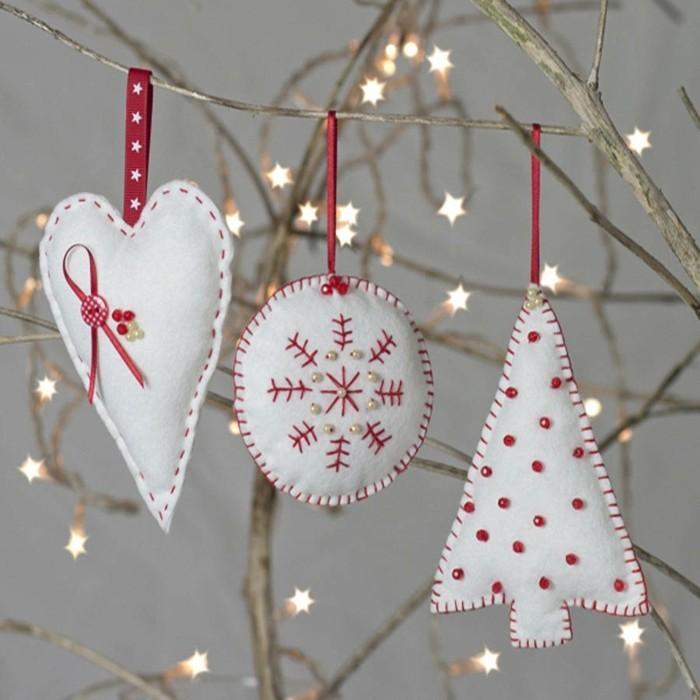 weihnachtsdeko nähen weihnachtsfiguren filz weiß rot