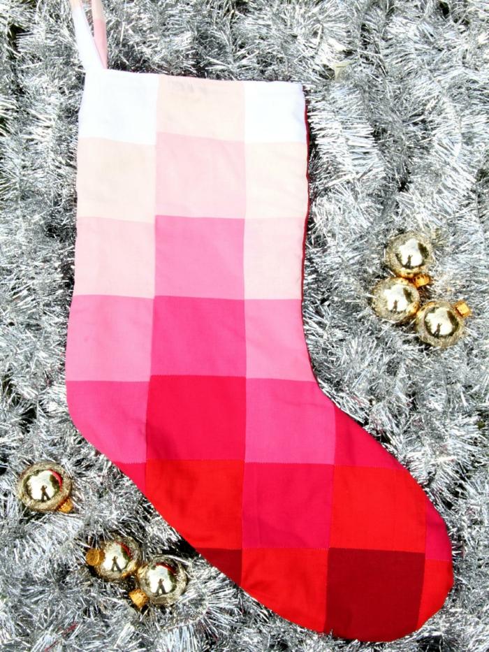 weihnachtsdeko nähen weihnachtsstrümpfe ombre design