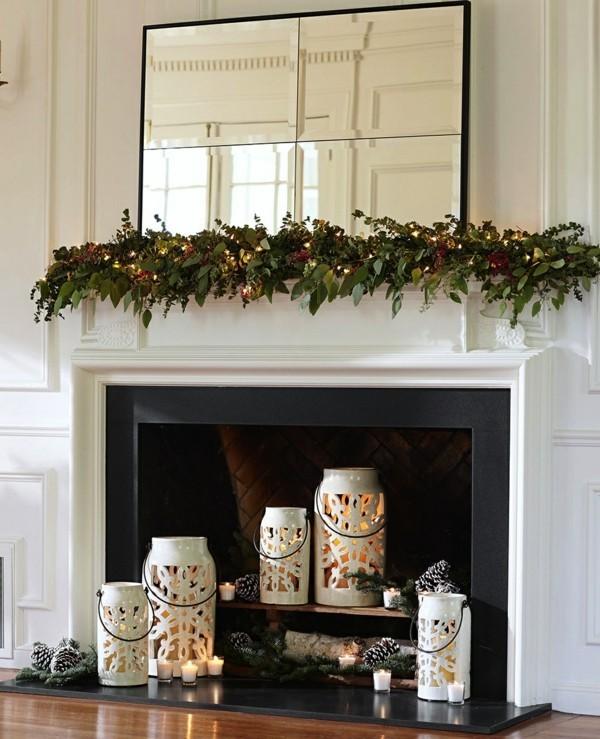 weihnachtskamin dekorieren deko girlande und spiegel
