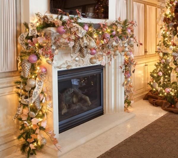 weihnachtskamin dekorieren deko girlande