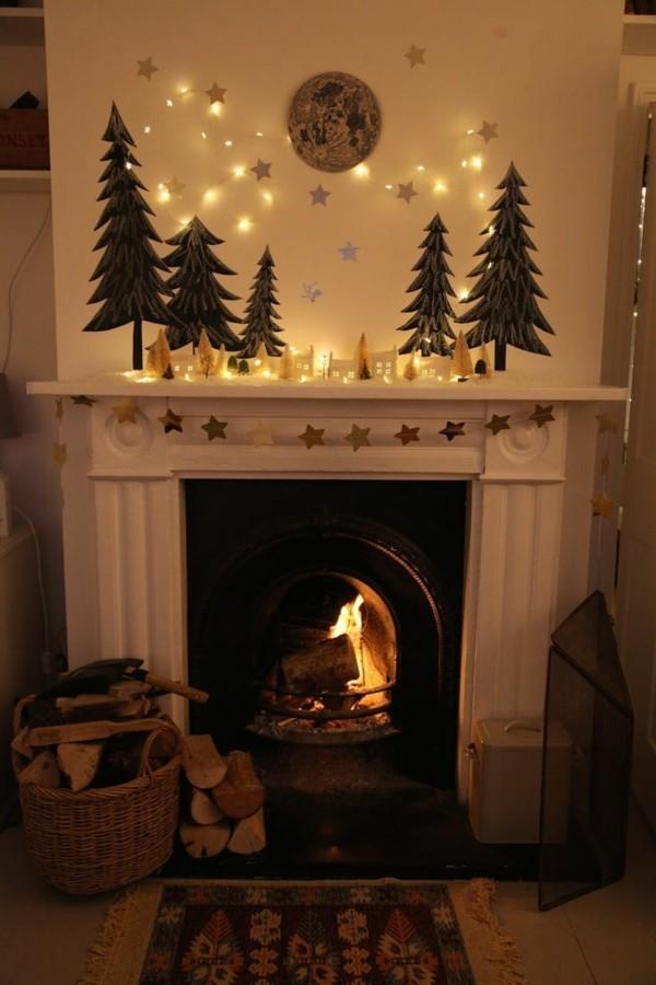 weihnachtskamin dekorieren deko symbolische figuren