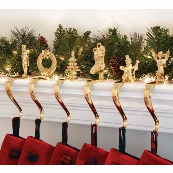 weihnachtskamin weihnachten kamin deko gold und rot