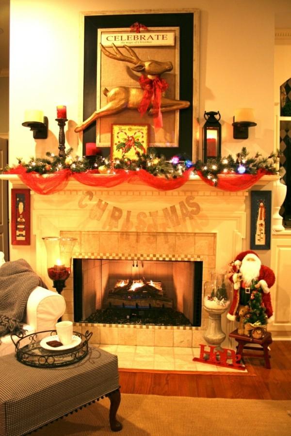 weihnachtskamin weihnachten kamin deko grün rote girlande