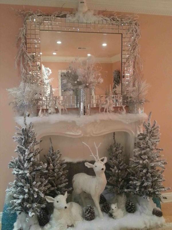 weihnachtskamin weihnachtsdeko schneeladnschaft