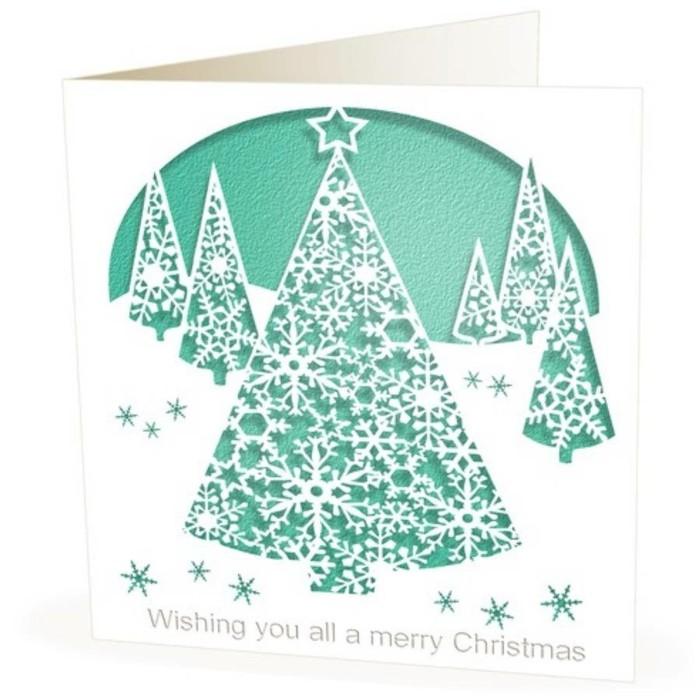 weihnachtskarte basteln scherenschnitt weihnachten beispiel