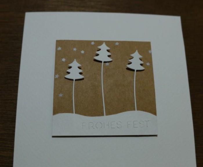 weihnachtskarte basteln scherenschnitt weihnachten drei baeume