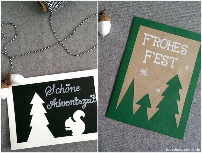 weihnachtskarte basteln scherenschnitt weihnachten einfache idee