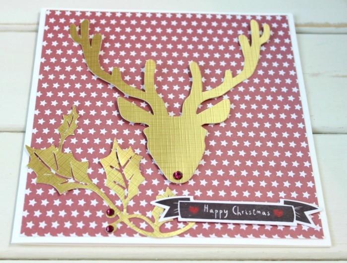 weihnachtskarte basteln scherenschnitt weihnachten gold