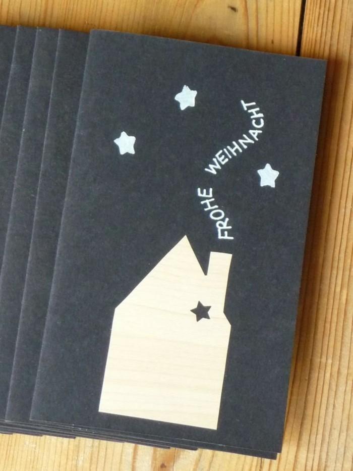weihnachtskarte basteln scherenschnitt weihnachten haus mit schornstein