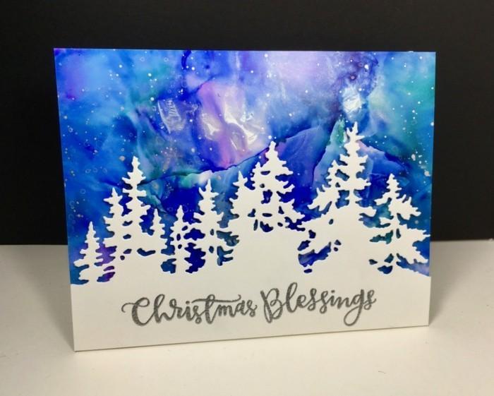 weihnachtskarte basteln scherenschnitt weihnachten kombinierte technik