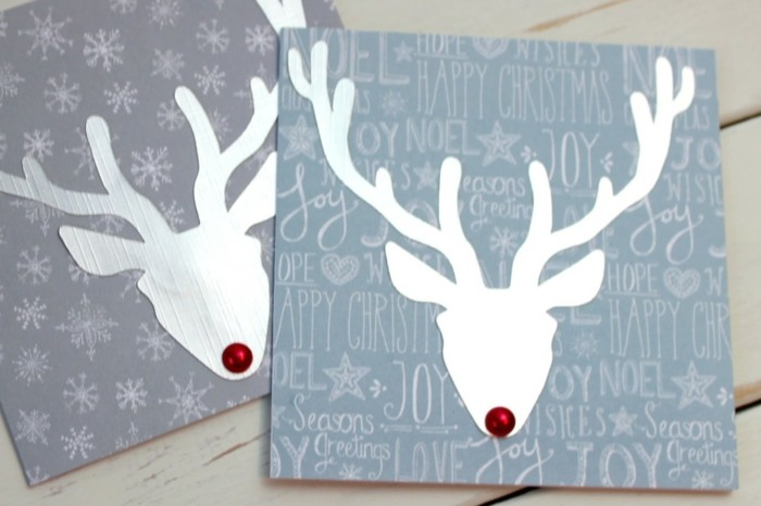 weihnachtskarte basteln scherenschnitt weihnachten kopf