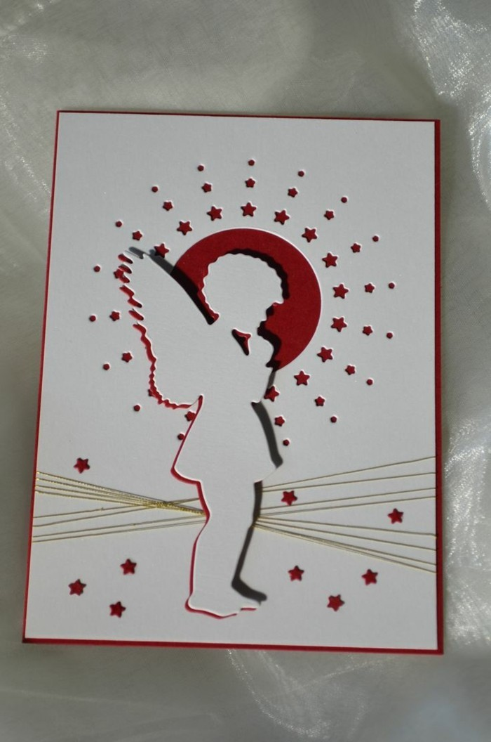 weihnachtskarte basteln scherenschnitt weihnachten rot weihnachtsengel
