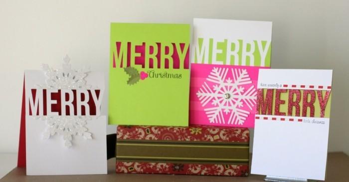 weihnachtskarte basteln scherenschnitt weihnachten schriftzug
