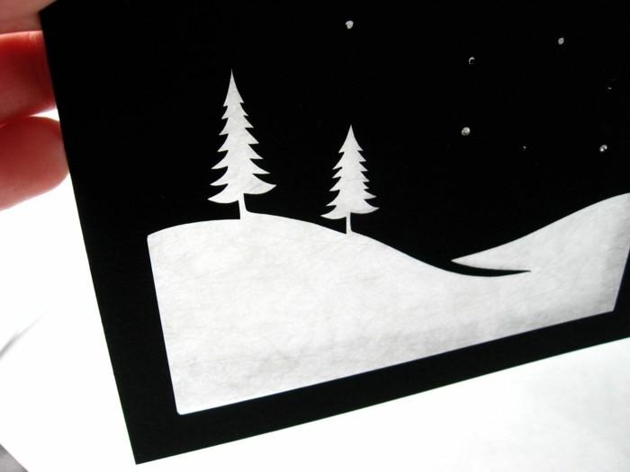 weihnachtskarte basteln scherenschnitt weihnachten schwarz weiss