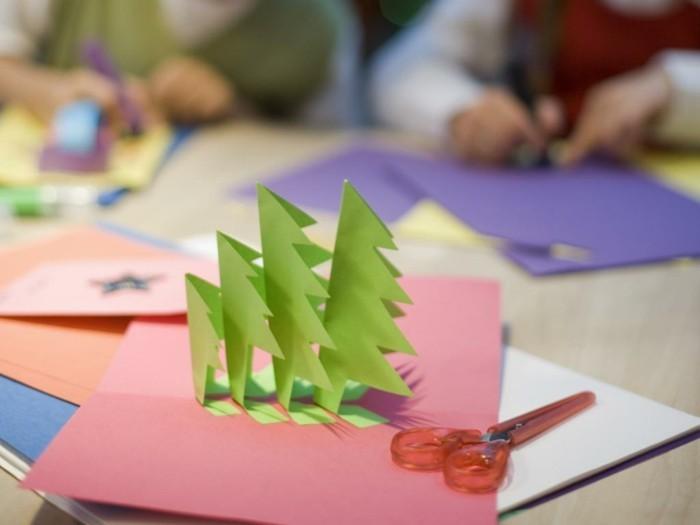 weihnachtskarte basteln scherenschnitt weihnachten tannenbaeume