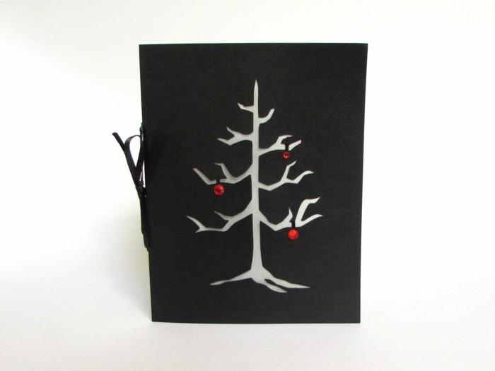 weihnachtskarte basteln scherenschnitt weihnachten tannenbaum