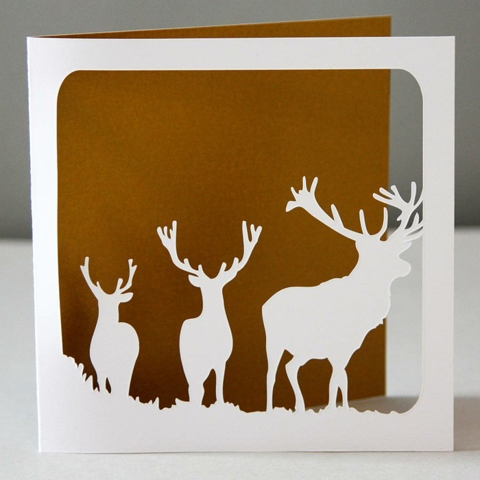 weihnachtskarte basteln scherenschnitt weihnachten waldtiere