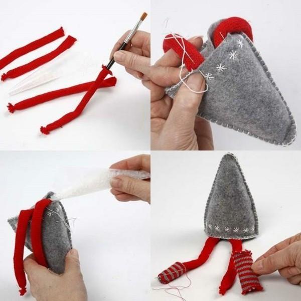 wichtel basteln aus filz und stoff zu weihnachten