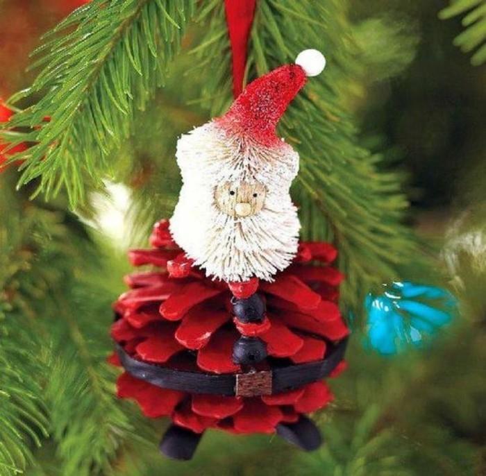 wihnachtsmann christbaumschmuck selber machen basteln mit zapfen