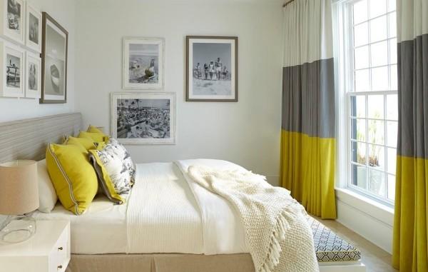 Chartreuse Akzente im Schlafzimmer