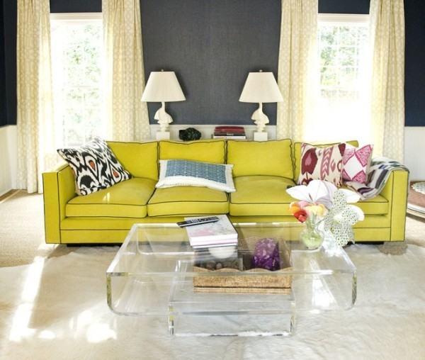 Chartreuse modernes Wohnzimmer