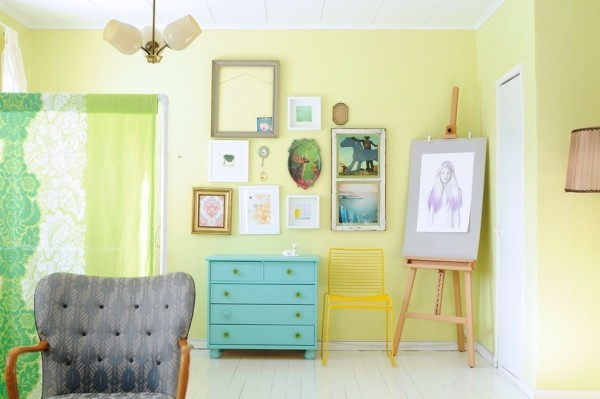Chartreuse trendige Farbe 2018 Innenraum