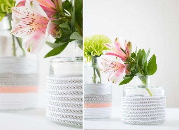 DIY Deko kontrast weiß und pflanzen