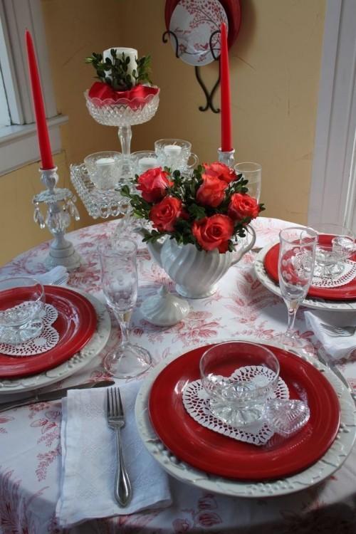 DIY Valentinstag romantische Tischdeko Rot Weiß