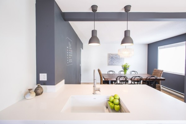 Küchen Ideen essbereich große hängelampen