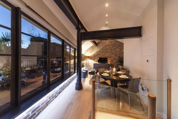 Küchen Ideen essbereich industrieller look offener wohnplan