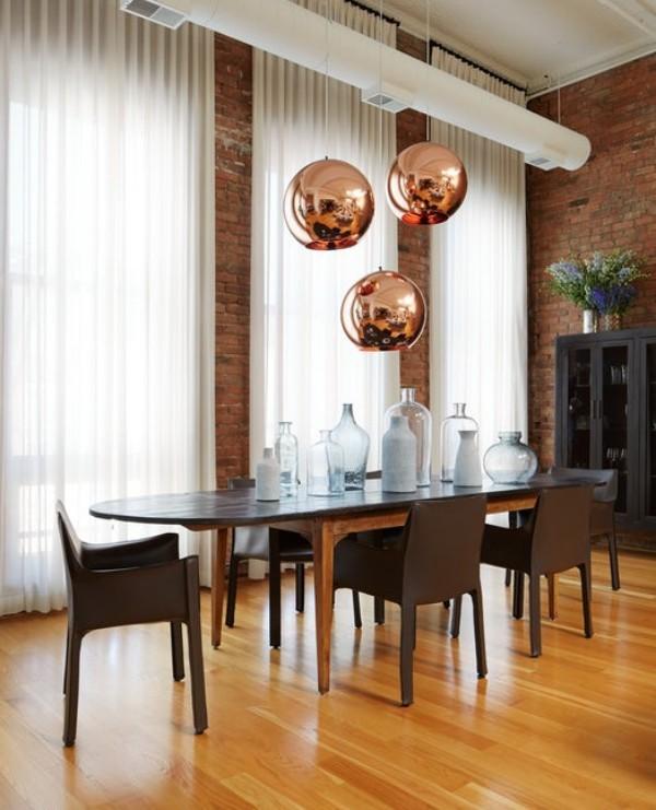 Küchen Ideen essbereich mit schönen pendelleuchten