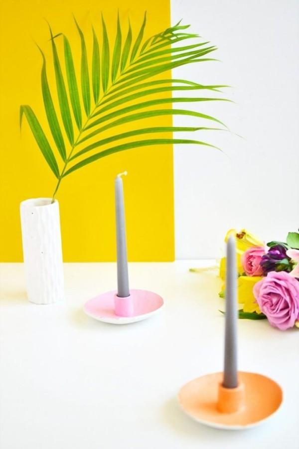 Untertassen und Kerzen DIY Deko