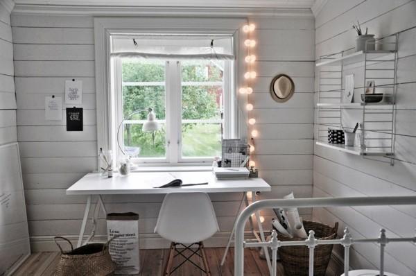 arbeitszimmer dekoideen mit lichterketten