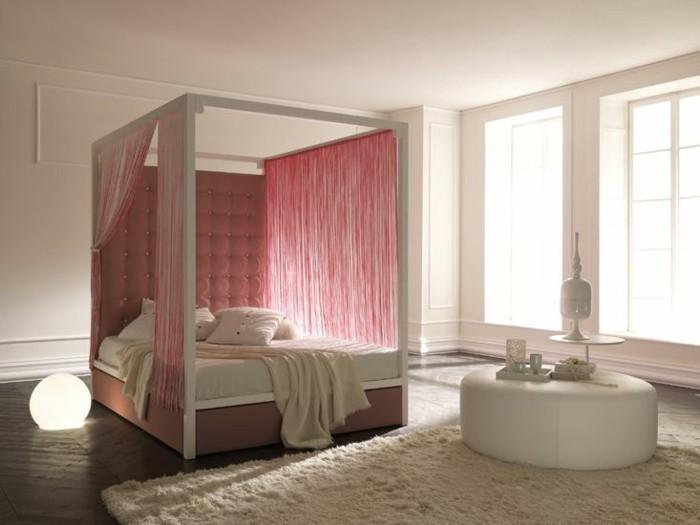 babyrosa wandfarbe baldachin schlafzimmer farben ideen