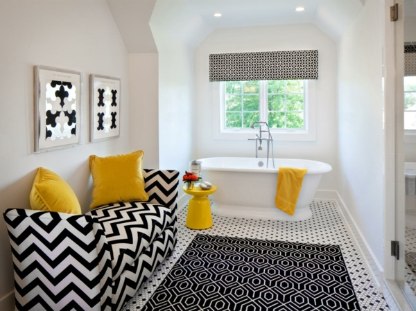 badezimmer einrichtung gelbe deko
